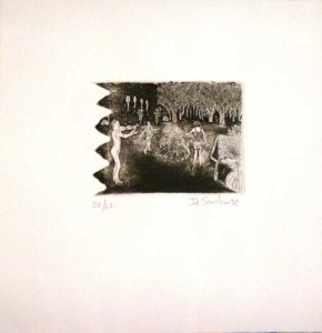 Campo de girassóis e cadeira de balanço - Gravura em metal - Edição 20 60 - 20 x 20 cm