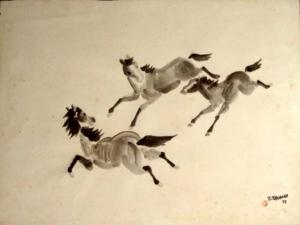 Cavalos - aquarela, 1973 - 38 x 55 cm.
