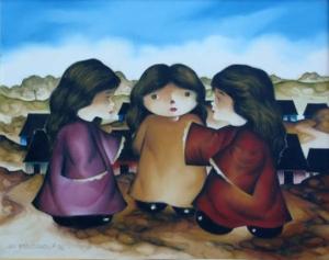 Contando histórias - óleo sobre tela, 1989 - 40 x 50 cm - INDISPONÍVEL