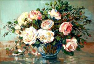 Flores - óleo sobre madeira - 33 x 48 cm