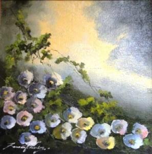 Flores - óleo sobre tela - Assinado cie - 49 x 49 cm