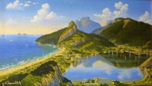 Lagoa em 1904, 1996 - lithopintura (técnica mista) - 57,5 x 32,5 cm