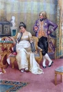 O fidalgo galanteador - aquarela - 40 x 28cm - assinado cid - artista citado no Benezit