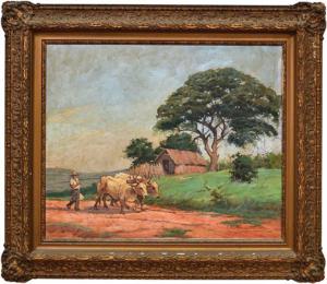 PAISAGEM COM CAMPONÊS E GADO EM PINDAMONHANGABA - SP -Este quadro participou do 11º Salão Paulista de Belas Artes - 61 x 74.