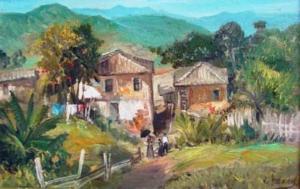 Paisagem rural - óleo sobre tela - 20 x 30 cm