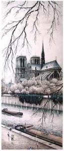 Paris, Notre-Dame Abside - litografia, 1949 - assinada - 47 x 21 cm - INDISPONÍVEL