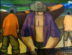 Pescadores - óleo sobre tela - 1998 - 32 x 39 cm.