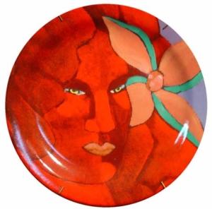 Prato - pintura em cerâmica - 20 cm.