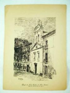 Rio de Janeiro - Igreja de Nossa Senhora do Bom Sucesso, Largo da Misericórdia - gravura - Sec XIX - 29 x 21 cm