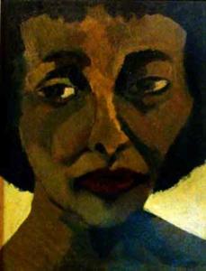 Rosto de mulher - óleo sobre tela - 45 x 34 cm.