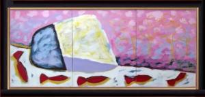 TRÍPTICO - Medida Obra 91cm x 38cm - com Moldura 53x105 cm