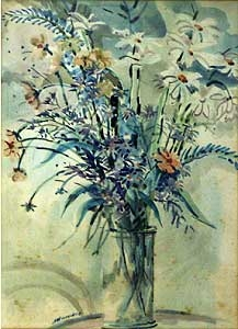 Vaso de flores - aquarela - 37 x 27 cm